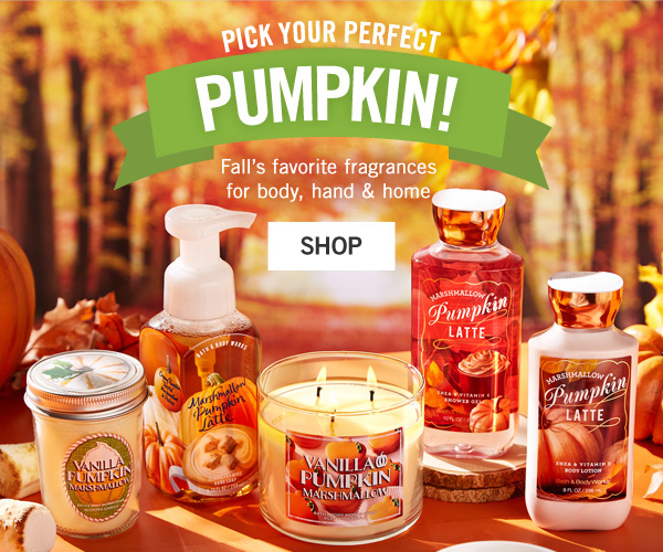 Pick your perfect pumpkin. Fall's favoirte fragrance for body, hand and home. - SHOP