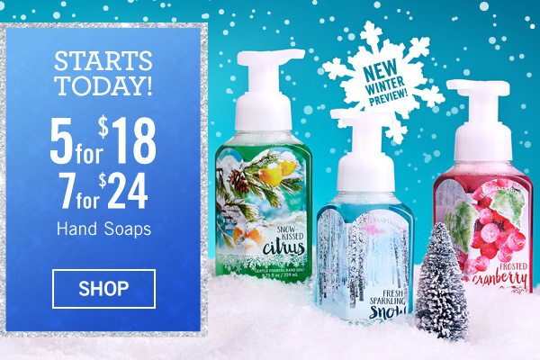 Starts Today! 5 for $18 or 7 for $24 Hand Soaps - SHOP