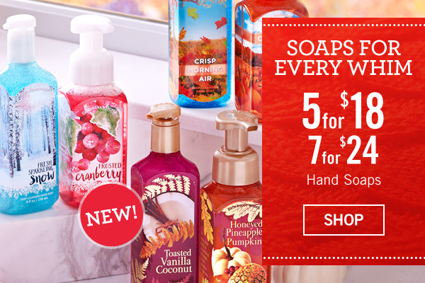 Soaps for every whim! 5 for $18, or 7 for $24 Hand Soaps - SHOP
