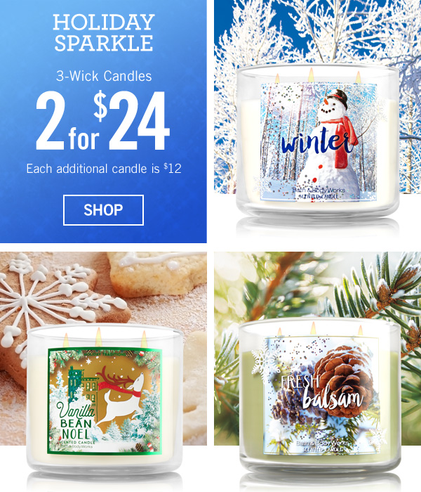 Holiday Sparkle. Starts Today! 3-Wick Candles are 2 for $24, Each additional candle is $12 - SHOP