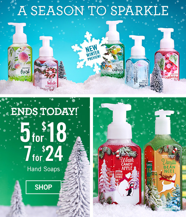 A Season to Sparkle - Ends Today! 5 for $18, or 7 for $24 Hand Soaps - SHOP