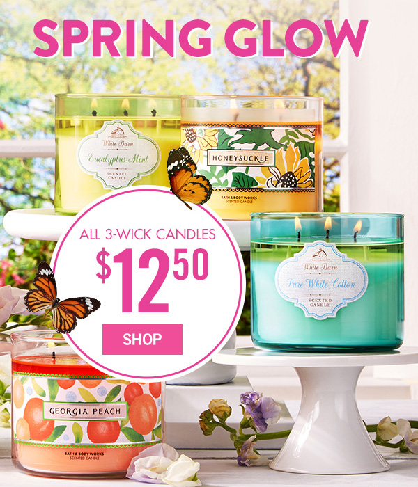 Spring Glow - All 3-Wick Candles are $12.50 - SHOP