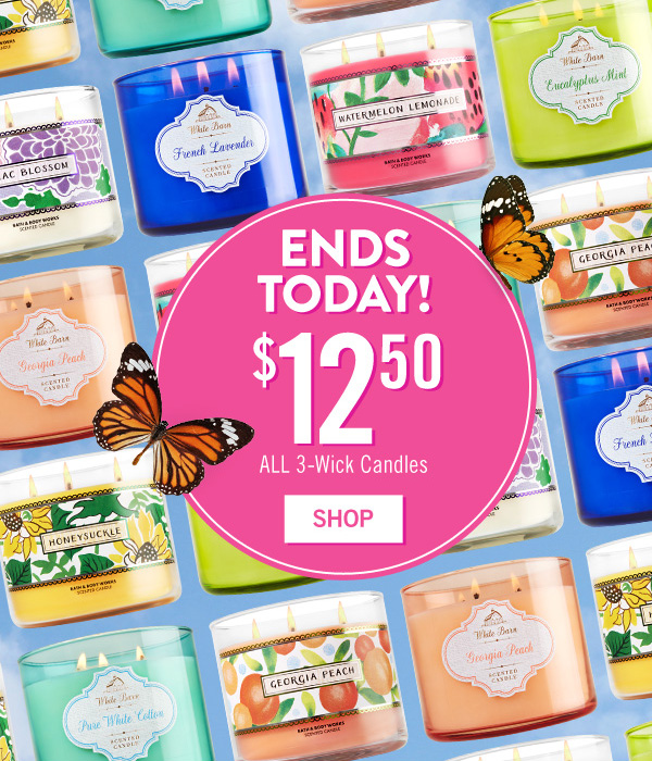 Ends Today! All 3-Wick Candles are $12.50 - SHOP