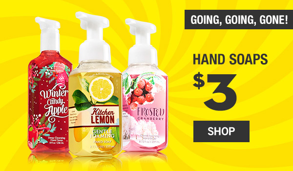 Going, Going, Gone! Hand Soaps are $3 - SHOP