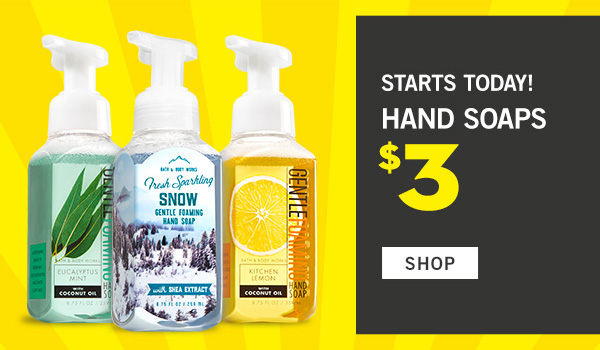 Starts today! Hand Soaps $3 - SHOP