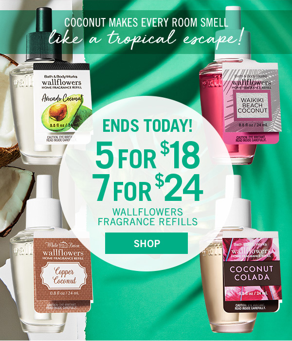 Ends today! 5 for $18 or 7 for $24 Wallflowers Fragrance Refills - SHOP!
